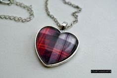 Tartan. Heart. I mean, what more is there to say? Okay, these cuties measure 1 across and come with matching 16-20 adjustable necklaces. They are