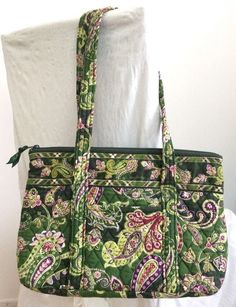 b150ca3357b8 Vera Bradley Floral Green Paisley Print Quilted Zip Top Tote Bag Purse EUC…  Paisley Print