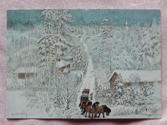 Harald Wiberg 2 Gnomes and 4 Horses Sled Sweden