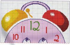 Reloj despertador animado (1).Color key DMC, Anchor y Madeira