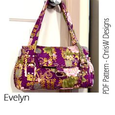 Bag Pattern PDF Sewing Tutorial INSTANT DOWNLOAD Evelyn Handbag, Designer Purse Floral or plain fabric, make it yourself how you like it
