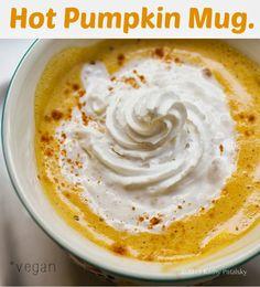 Hot Pumpkin Mug! 1 cup non-dairy milk (i.e. almond milk),1 1/2-2 Tbsp pure pumpkin puree, unsweetened, 1/4 tsp ginger powder, 1/4 tsp cinnamon, pinch of salt, 2-3 drops vanilla extract, 1 tsp maple syrup, grade B. #MyVeganJournal