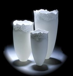 Angela Mellor -GLACIAL VESSELS       Bone china   with paperclay inlay