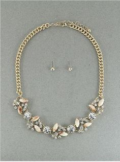 Amazon.com: Designer Inspired Necklace | - Mixed Crystal | 18-21 Inch | Gold-ivory-clear: Jewelry