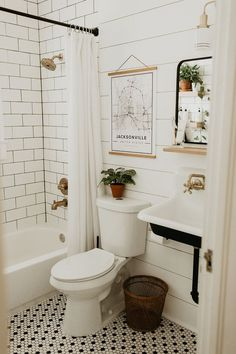 Bathroom renovation, modern vintage bathroom, farm sink, black white brass, ship… - Home Professional Decoration Bathroom Inspo, Bathroom Inspiration, Bathroom Black, Dyi Bathroom, Neutral Bathroom, Bathroom Designs, Remodel Bathroom, Shower Remodel, Black White Bathrooms