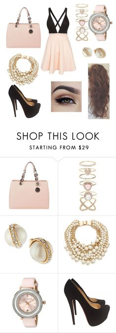 """Fancy night with boyfriend"" by tessahnicole ❤ liked on Polyvore featuring MICHAEL Michael Kors, Accessorize, Kate Spade, Ted Baker, Christian Louboutin, Club L, women's clothing, women, female and woman"