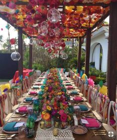 Best Garden Party With Amazing Decor For Teen 12 Mexican Fiesta Party, Mexican Dinner Party, Summer Party Decorations, Mexican Wedding Decorations, Mexican Themed Weddings, Party Decoration Ideas, Bohemian Party Decorations, Colorful Wedding Centerpieces, Colorful Weddings
