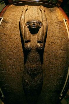 Sky goddess Nut on sarcophagus of King Merneptah, Ramses II's son. the goddess of the sky in the Ennead of Egyptian mythology. She was seen as a star-covered nude woman arching over the earth. 19th dynasty, 1273 - 1203 BC. Cairo Museum. Source Egypt Cradle of Civilization