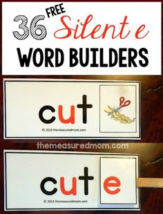 free silent e word builders