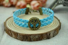 Retro Bronze cuff bracelet  Peace Symbol blue Leather by Evanworld, $1.99 Fashion personalized charm bracelets, friendship birthday, the best gift.