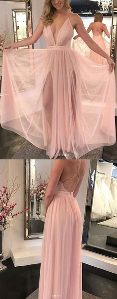 blush pink prom dresses, deep v neck long prom gowns, dresses for women B1242