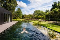 Groenregie took care of the construction of this complete garden around a recently built villa in Capelle aan den IJssel. Casa San Sebastian, Natural Swimming Ponds, Pool Landscaping, Backyard Pools, Pool Decks, Modern Pools, Luxury Pools, Small Pools, Plunge Pool