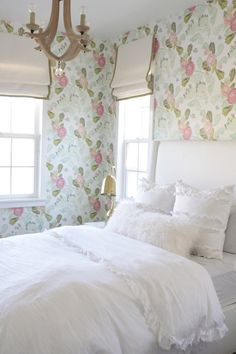 Owens and Davis - girl's rooms - Watercolor Peony Wallpaper, Arteriors Manning Wood Crystal Chandelier, Frayed Ruffle Duvet Cover, gold task lamp, white bed, white wingback bed, ruffle duvet, white ruffled bedding, ruffle shams, white ruffle shams, anthropologie wallpaper, wood chandelier, ... <3