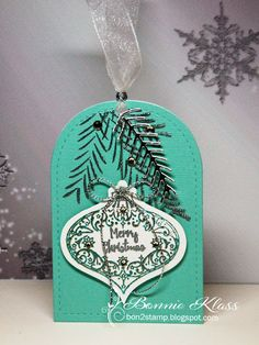 Stamping with Klass: Silver Boughs Tag Christmas Tag, Dog Tags, Dog Tag Necklace, Stamping, Holiday, Silver, Cards, Vacations, Christmas Ornament