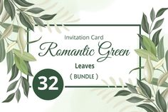 Beautiful Wedding Invitations, Watercolor Wedding Invitations, Wedding Invitation Cards, Wedding Cards, Leaf Design, Green Leaves, Save The Date, Floral Wedding, Romantic