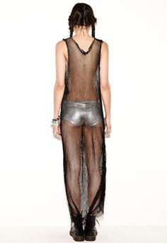 Mesh Fringe Maxi Dress