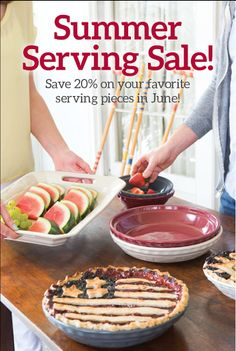 June: Summer serving sale! Save 20% on your favorite Longaberger Woven Traditions serving pieces! All Woven Traditions pottery is vitrified! It can go in the freezer, fridge, dishwasher, microwave and oven. Makes serving and cleaning up a breeze! To see all the pieces available visit www.shopbasketsnmore.com