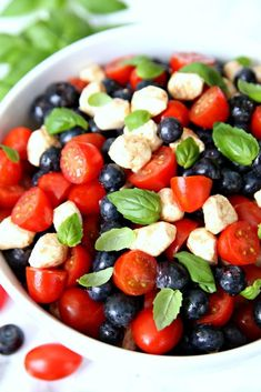 Red White Blueberry Caprese Salad 4th of July Side Dish.  A delicious and festive salad perfect for the 4th of July.
