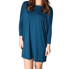 Majolica Blue Piko Tunic 3/4 Sleeve Dress