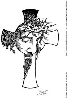 Cross with christ line art tattoos, tatoo art, body art tattoos, tribal tattoos Line Art Tattoos, Body Art Tattoos, New Tattoos, Tattoo Art, Tattoo Drawings, Tribal Cross Tattoos, Symbol Tattoos, Tattoo Symbols, Celtic Tattoos