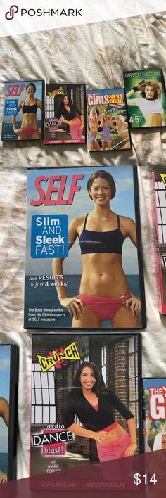👊🏽👊🏼👊🏾Work Out DVDs!👟💪🏻💪🏽💪🏾 Get four work out DVDS for the price of one! Carmen Electra's Sexy Lap Dnace, the famous Crunch Gym Salsa Cardio work out series, SELF Mag's Slim & Sleek - and work it out with the former Girls Next door! Most of these were hardly used. KICK BUTT👊🏻💪🏾👊🏼💪🏿👊🏽💪🏻👟 -- pair with LANE BRYANT Activewear zip up hoodie in my closet & more to save $$$ Other