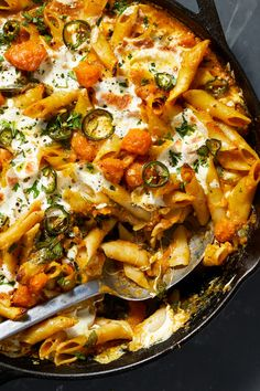 NYT Cooking: Here's a vegetable-filled pasta bake that comes together in under an hour. The most time-consuming part of this recipe is prepping the squash. You can buy pre-cut squash, or cut it yourself: Trim the ends so that it can stand up flat. Use a sturdy vegetable peeler to remove the skin. Cut off the bulbous part from the neck. Scoop the seeds out of the bulbous part. Half the squash lengthwise, the... Spinach Recipes, Vegetarian Recipes, Cooking Recipes, Healthy Recipes, Vegetable Pasta Recipes, Fall Recipes, Dinner Recipes, Dinner Entrees, Thanksgiving Recipes