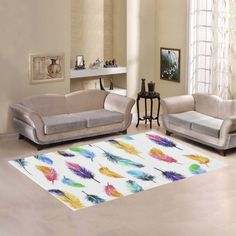 Love Nature Sweet Home Modern Collection Custom Peacock feathers rainbow color Area Rug 5'x3' Indoor Soft Carpet *** Find out more about the great product at the image link-affiliate link. #AreaRugsRunnersPads