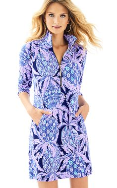 a60cf46664754e Lilly Pulitzer Womens UPF 50+ Skipper Printed Popover Dress Cute Pants,  Resort Dresses,