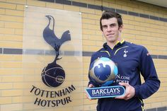 Tottenham Hotspur's Gareth Bale receives the Barclays Player of the Month Award for April 2010.