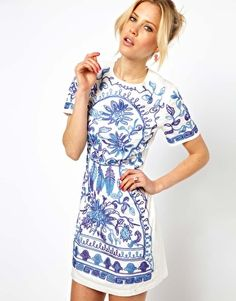 love this for summer...Shift Dress With Cornelli Trim
