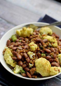 Vegan Roasted Spring Veggie Bowl with Caper Vinaigrette