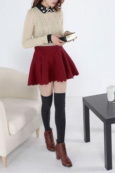 High Waist Petal Hem Solid Color Short Skirt, #Wendybox