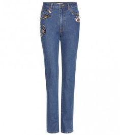 Verzierte High Waist Jeans
