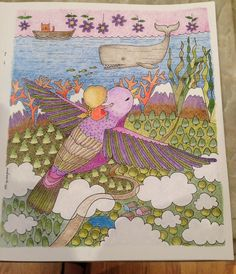From Emila Yusof's coloring book titled Dream World; Emila Yusuf; Dream World; Colourart by Emila Yusof.