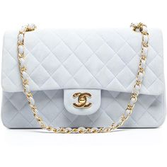Pre-Owned Chanel Light Blue Suede Medium Double Flap Bag found on Polyvore
