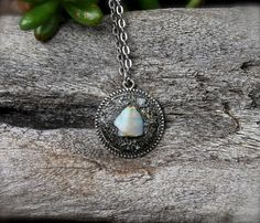 Natural Opal Necklace  Crushed Pyrite by MermaidTearsDesigns