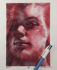 A selection of work by artist and illustrator Lee. Biro Drawing, Pencil Art Drawings, Art Sketches, Biro Art, Elephant Man, Ballpoint Pen Art, Geometric Nature, Scribble Art, Cardboard Sculpture