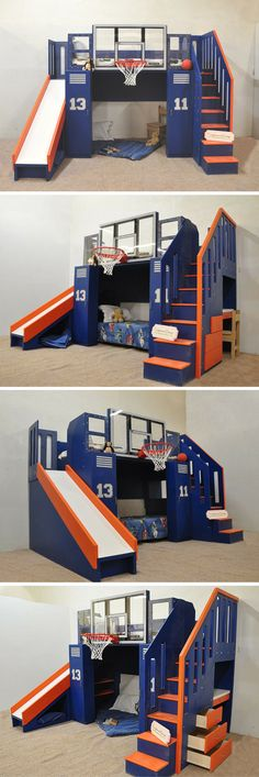 Get the Ultimate in function, and the Ultimate in fun! The Ultimate Basketball Bunk Bed has loads of built in storage to make parents happy, and a built in NBA sized, shatter proof hoop, as well as a slide to entertain the kids! This incredible design can act as a bunk bed, a loft bed, or a kids indoor playhouse. It's great for the sports loving boy or girl in your life, and can even be customized with your child's name and favorite team colors! Click to learn more! #kidsindoorplayhouse