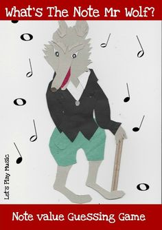 What's The Note Mr Wolf? Note Value guessing game is a fun way to teach kids to recognise music notes and their time values.