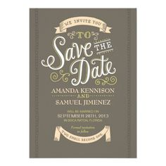 Save The Date ~ Curly Lettering - Brown Personalized Hallmark Wedding, Invitation.  $1.90