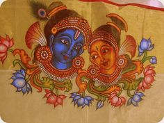 Krishna-radha Dress Painting, Fabric Painting, Mural Art, Murals, Krishna Love, Krishna Radha, Kerala Mural Painting, Sand Art, Indian Paintings