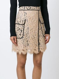 floral lace piped skirt