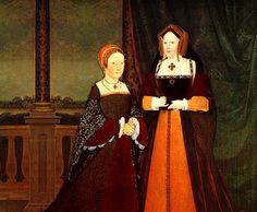 Montagem de Jéssica Rose mostrando a princesa Maria e sua mãe, Catarina de Aragão. Enquanto foi usado um quadro legítimo de Maria, para Catarina de Aragão foi usado o 'corpo' de Margaret Tudor, irmã de Henrique VIII.