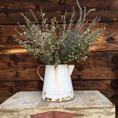 Vintage farmhouse pitcher pail spout and handle by rustichacienda