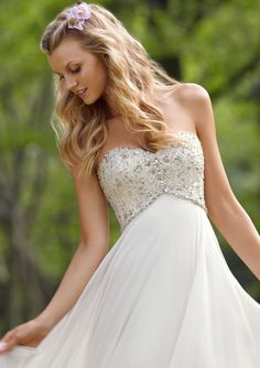 Empire Waist Sweetheart Sweep/Brush Train Chiffon Beading Sequins Wedding Dress