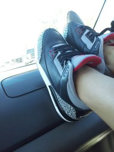 Cruising with my black cement 3s