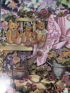 Teddies in Garden cross stitch kit Candamar Designs Debra Jordan Meyer started #CandamarDesigns