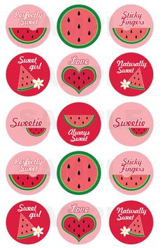 Decorating Ideas for a Child's Room: How to Make Bottle Cap Door Pulls Watermelon Birthday Parties, Sweet Watermelon, Watermelon Art, Diy And Crafts, Paper Crafts, Bottle Cap Crafts, Bottle Caps, Bottle Cap Images, Love Is Sweet