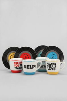 Beatles Mug Set...with quite applicable phrases for coffee time.