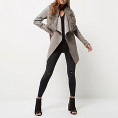 River Island Grey faux fur trim fallaway coat